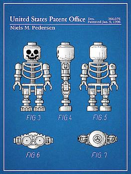 Greg Edwards - 1996 Lego Toy Skeleton Figure Blueprint Colorized Patent Print