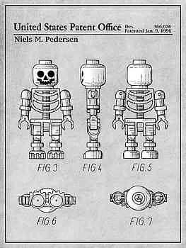 Greg Edwards - 1996 Lego Toy Skeleton Figure Gray Colorized Patent Print