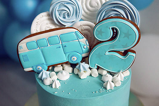 Blue Cake On Children's Birthday With The Number Two And The Car by Elena Saulich