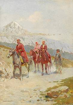 Caucasians on Horseback by Oskar Schmerling