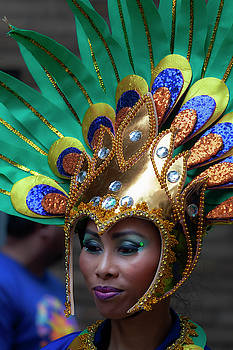 Filipino Day Parade NYC 2019 Female Dancer in Head Dress by Robert Ullmann