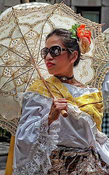 Filipino Day Parade NYC 2019 Woman with Parasol by Robert Ullmann
