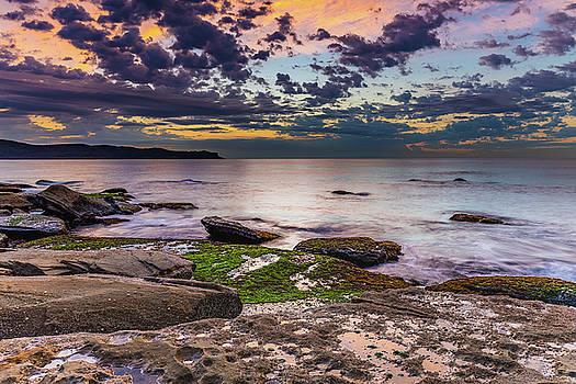 Gentle Seas and Pretty Clouds Sunrise Seascape by Merrillie Redden