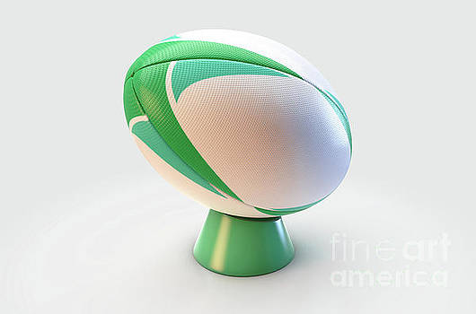 Green And White Rugby Ball by Allan Swart