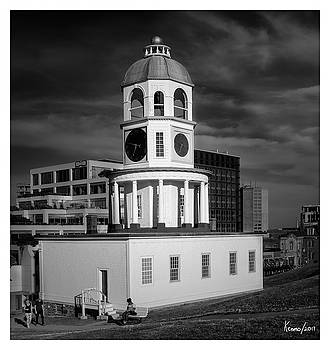 Halifax Town Clock 2017 Black  and White by Ken Morris