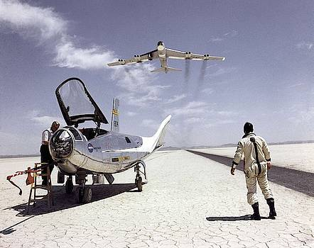 HL-10 on Lakebed with B-52 flyby by Celestial Images