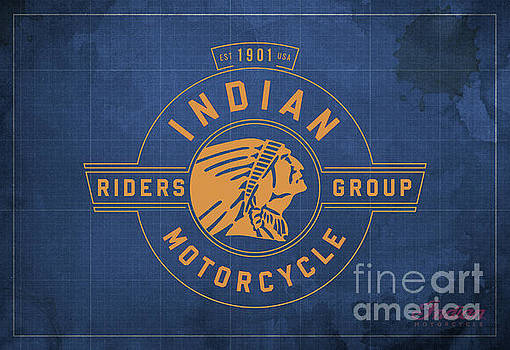 Indian Motorcycle Old Vintage Logo Blue Background by Drawspots Illustrations