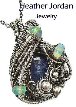 Natural Blue Sapphire Wire-Wrapped Pendant in Antiqued Sterling Silver with Ethiopian Welo Opals by Heather Jordan
