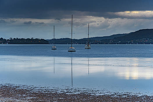 Overcast Morning on the Bay with Boats by Merrillie Redden