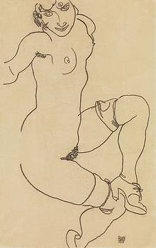 Egon Schiele - Seated Nude in Shoes and Stockings