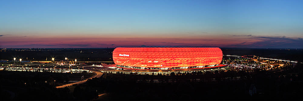Soccer Stadium Lit Up At Dusk, Allianz by Panoramic Images