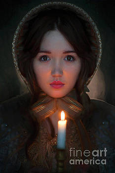 Victorian Woman Holding A Candle by Lee Avison