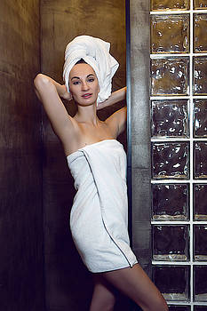 Young Girl In A White Robe And A Towel On Her Head by Elena Saulich