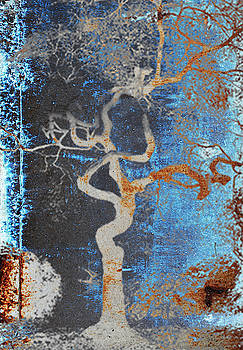 2000 year old TOKYO TREE in Grunge blue and brown by Robert R Splashy Art Abstract Paintings