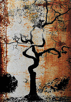 2000 Year Old Tokyo Tree Sepia Brown Texture  by Robert R Splashy Art Abstract Paintings