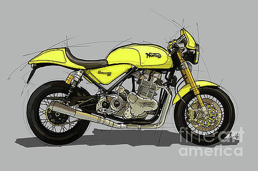2010 Norton Commando 961 Cafe Racer original handmade drawing.Gift for bikers by Drawspots Illustrations