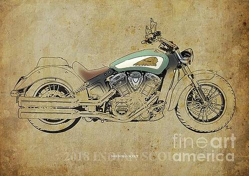 2018 Indian Scout Artwork, Color and Black Lines by Drawspots Illustrations