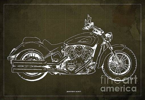 2018 Indian Scout Blueprint Vintage Brown Background by Drawspots Illustrations