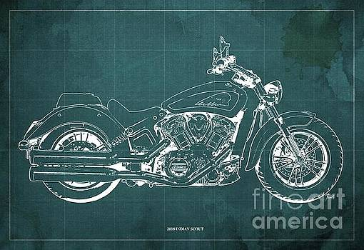 2018 Indian Scout Blueprint Vintage Green Background by Drawspots Illustrations