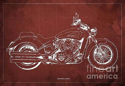 2018 Indian Scout Blueprint Vintage Red Background by Drawspots Illustrations