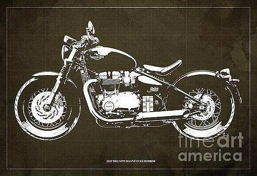2018 Triumph Bonneville Bobber Blueprint by Drawspots Illustrations