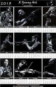 2019 high resolution R Young Art Musicians calendar by Richard Young