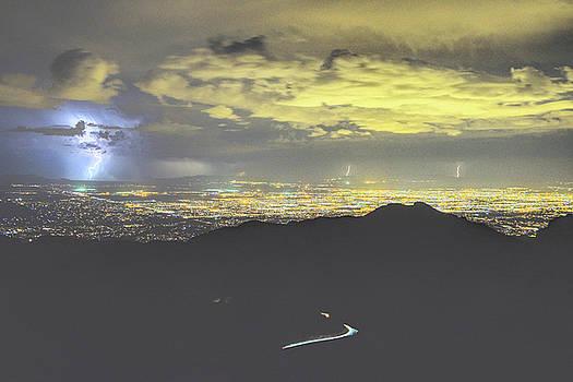 Chance Kafka - 2019 Monsoon Lightning over the Lights of Tucson, Windy Point