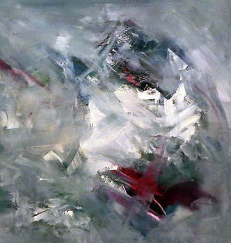21901 Abstract Rose Grey Acrylic by Lisa Kaiser