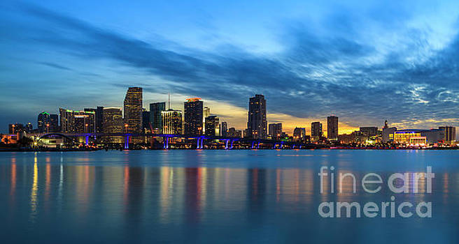 Miami Sunset Skyline by Raul Rodriguez