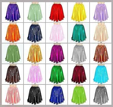 Sofia Metal Queen - 25 color variations of Ameynra satin mini skirts