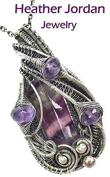 Fluorite Wire-Wrapped Pendant in Antiqued Sterling Silver with Amethyst by Heather Jordan