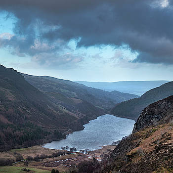 Landscape image of view from peak of Crimpiau towards Llyn Crafn by Matthew Gibson