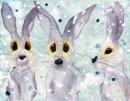3 Rabbits in the Snow by Dawn Derman