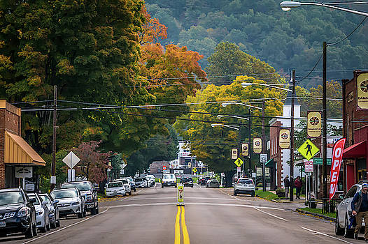 Roads Surrounded By Autumn Leaves Season In Damascus Virginia by Alex Grichenko