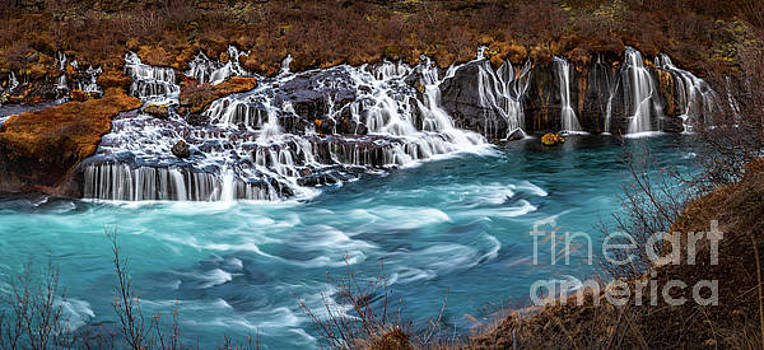 The beautiful cascades of Hraunfossar in Iceland. by Jamie Pham