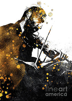 Justyna Jaszke JBJart - Violin music art gold and black