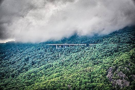 linn cove viaduct and curvy winding roads in mountains of NC by Alex Grichenko