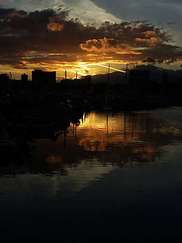 Sunset over Sutton Harbour Plymouth by Chris Day
