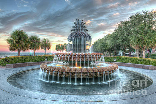 Dale Powell - Pineapple Fountain Sunset - Charleston SC