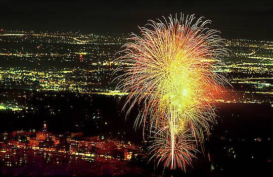 4th Of July Fireworks Over Historic Broadmoor Hotel built in 1918, Colorado Springs, Colorado by Bijan Pirnia