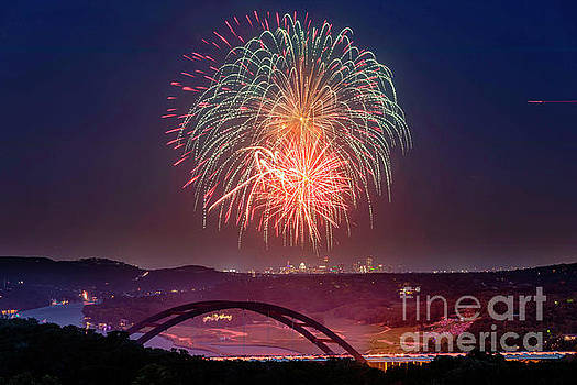 Herronstock Prints - 4th of July fireworks paint the night sky over the 360 Pennyback