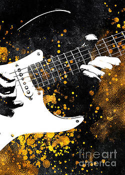 Guitar music art gold and black by Justyna Jaszke JBJart