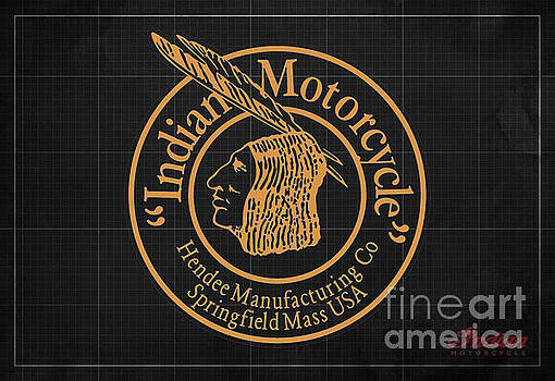 Indian Motorcycle Old Logo Vintage Background by Drawspots Illustrations