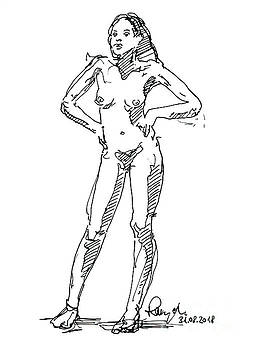 Frank Ramspott - Female Figure Drawing Standing Pose Fountain Pen Ink