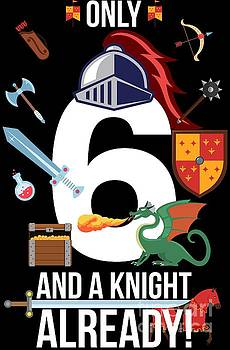 6th Birthday Boy Only 6 And A Knight Already Gift by Festivalshirt