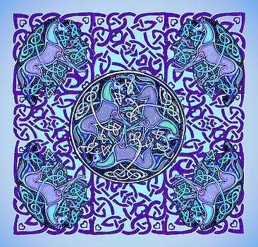 7 Blue Celtic Horses by Michele Avanti