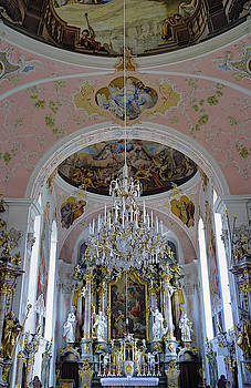 Interior View Of The Saint Peter and Paul Catholic Parish Church In Oberammergau Germany by Richard Rosenshein