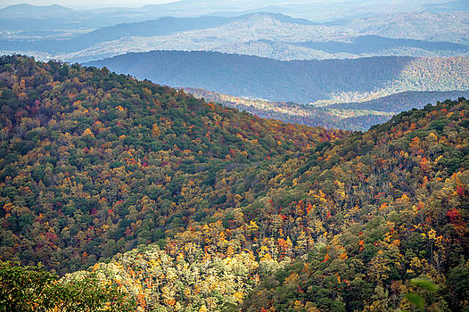 Blue Ridge And Smoky Mountains Changing Color In Fall by Alex Grichenko