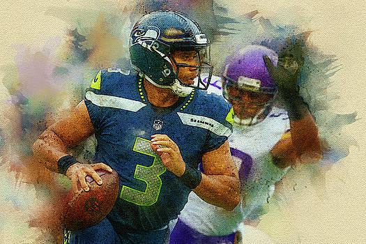 Russell Wilson,Seattle Seahawks. by Nadezhda Zhuravleva