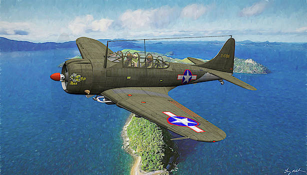 A-24 Banshee over Aleutians - Oil by Tommy Anderson